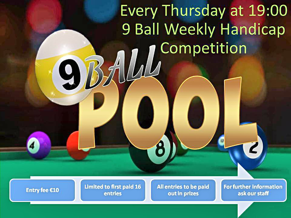 Weekly 9 ball Handicap Tournament